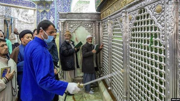 Sanitising the shrine of Hazrat Masoumeh against the coronavirus in the holy city of Qom, Iran, February 25, 2020. File photo