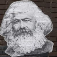 Karl Marx sticker on wall