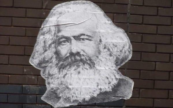 Karl Marx sticker on wall