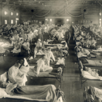 Soldiers from Fort Riley, Kansas, ill with Spanish flu at a hospital ward at Camp Funston Soldiers from Fort Riley, Kansas, ill with Spanish flu at a hospital ward at Camp Funston.