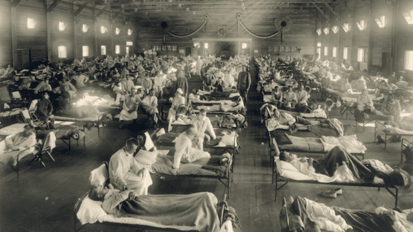| Soldiers from Fort Riley Kansas ill with Spanish flu at a hospital ward at Camp Funston Soldiers from Fort Riley Kansas ill with Spanish flu at a hospital ward at Camp Funston | MR Online