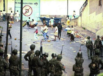 | In 1989 military forces served transnational interests by massacring the population during the popular rebellion against neoliberal measures Photo Archives | MR Online