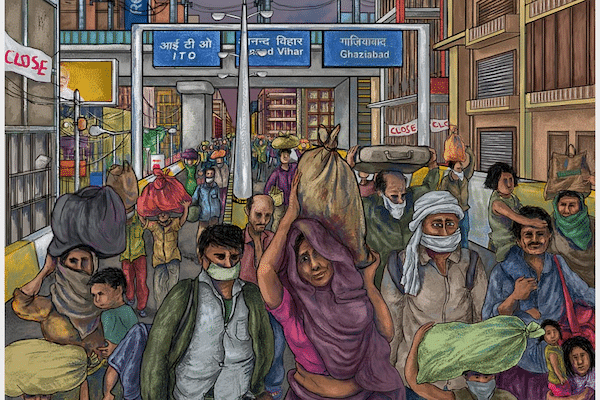 'Home', a distant dream for India's migrant labourers. Delhi, India Vikas Thakur / Tricontinental: Institute for Social Research In India, migrant labourers traveled across the country en masse after the government declared a lockdown. These are workers who, before the pandemic, already had to struggle daily for even an ounce of food – then COVID-19 hit.
