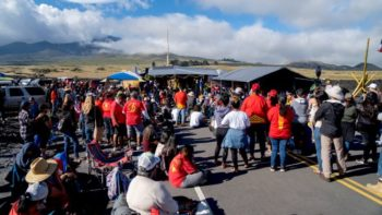 Protesters blocked Maunakea Access Road in August 2019.  (Image credit: Steve Bruckmann/Shutterstock)