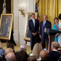 President Barack Obama and First Lady Michelle Obama host the unveiling of the official portraits of former President George W. Bush and former First Lady Laura Bush, in the White House, May 31, 2012. (White House, Lawrence Jackson)