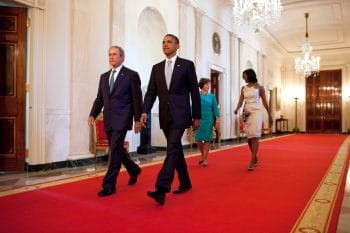 President Barack Obama and First Lady Michelle Obama walk with former President George W. Bush and former First Lady Laura Bush after the unveiling of the Bushes' official portraits at the White House, May 31, 2012. (White House, Chuck Kennedy)