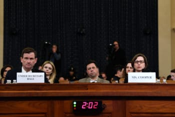 Cooper, right testifies a House Intelligence Committee on Capitol Hill, Nov. 20, 2019, during a hearing on Trump's alleged ties to Ukraine. Susan Walsh | AP
