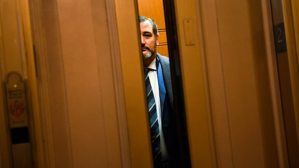 Sen. Ted Cruz, R-Texas, looks out from an elevator on Capitol Hill in Washington, Wednesday, Feb. 5, 2020. (AP Photo/Susan Walsh)