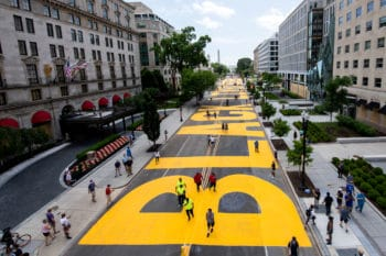 Black Lives Matter is painted onto 16th Street in DC, June 5, 2020. Khalid Naji-Allah | Executive Office of the Mayor