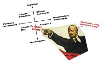 Climate Lenin intervenes in Mann and Wainright's Climate Leviathan diagram, from the eponymous 2018 book.