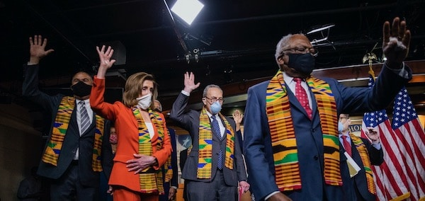 | House Speaker Nancy Pelosi of Calif House Majority Whip James Clyburn of SC and top Congressional Democrats raise their hands during a news conference to unveil policing reform and equal justice legislation on Capitol Hill Monday June 8 2020 in Washington AP PhotoManuel Balce Ceneta | MR Online