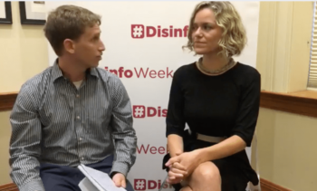 """Wikimedia Foundation CEO Katherine Maher (right) at a """"Disinformation Forum"""" sponsored by the U.S. government regime-change entity NDI and the NATO- and Gulf monarchy-backed Atlantic Council"""
