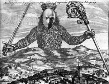 Climate Lenin atop Hobbes'frontispiece from Leviathan (1651) depicting sovereignty represented by a crown figure composed of its subjects.