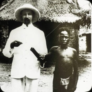 Missionary  with Congolese man. (International Mission Photography Archive)