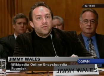 Wikipedia founder Jimmy Wales testifying before the U.S. Senate Committee on Homeland Security and Government Operations in 2007