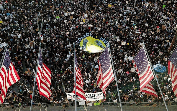 Demonstrators on Wednesday, June 3, 2020, in downtown Los Angeles. AP Photo/Ringo H.W. Chiu.
