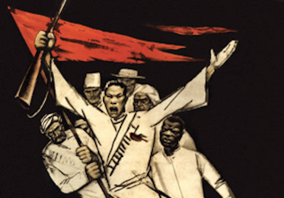 """Oppressed colonial nations shall rise up against Imperialism under the banner of the Proletarian Revolution."" (Bolshevik poster.)"
