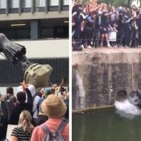 BLM Protesters in UK Tear Down Statue of Slave Trader Edward Colston