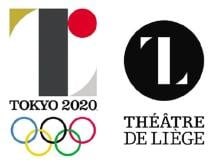 Japanese design of Olympics logo besides the logo of a Belgian theater