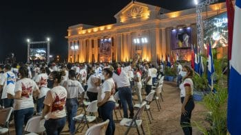 Hundreds of Sandinista Youth activists sat in the audience
