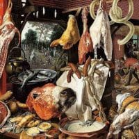 A Meat Stall with the Holy Family Giving Alms, Pieter Aertsen (1551)