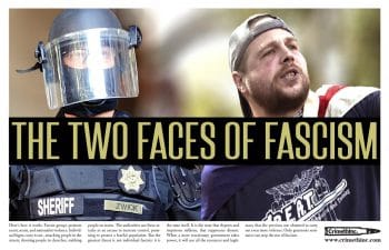 Already in 2017, when fascist Jeremy Christian murdered two people after attending a far-right rally in Portland, we were compelled to publish this poster explaining how fascists and Portland police work together.