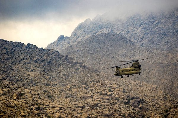 U.S. Army helicopter pilots fly near Jalalabad, Afghanistan, April 5, 2017. (U.S. Army, Brian Harris, Wikimedia Commons)