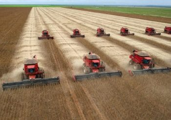 Combine harvesters crop soybeans in Campo Novo do Parecis, Brazil (YASUYOSHI CHIBA/AFP/Getty Images )
