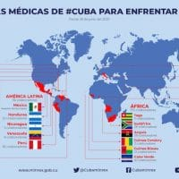 This map was released by the Cuban Ministry of Foreign Affairs on June 26. It shows the extent of the activity of Cuban medical brigades sent abroad to fight Covid-19.
