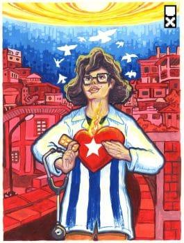 Miguel Guerra (Utopix, Venezuela), A los médicos cubanos ('To the Cuban Doctors'), 2020.