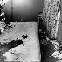 The bloody mattress at the scene of the assassination of Fred Hampton.