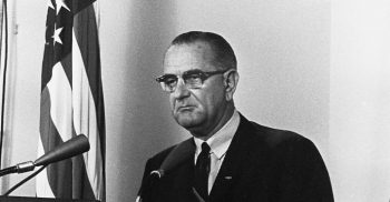 "President Lyndon Johnson announces ""retaliatory"" strike against North Vietnam in response to the supposed attacks on U.S. warships in the Gulf of Tonkin on Aug. 4, 1964. (LBJ Library)"
