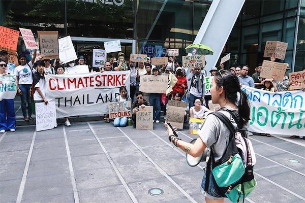 "Nanticha ""Lynn"" Ocharoenchai before the crowd at Climate Strike Thailand event in May. Photo: Nanticha ""Lynn"" Ocharoenchai / Courtesy"