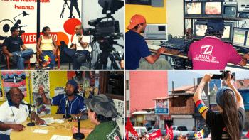 | Community media Catia TVe studios 2008 top left Canal Z master 2007 top right Radio Perola studios 2009 bottom left Tatuy TV covering a march 2017 bottom right Archive | MR Online