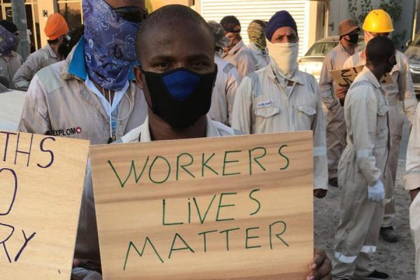 Striking migrant workers in Mahboula in Kuwait