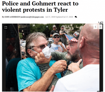 """The Tyler Morning Telegraph (7/27/20) reported that supporters of candidate Hank Gilbert like the one at left """"felt they were attacked."""""""