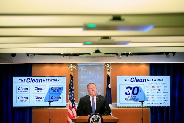 U.S. Secretary of State Mike Pompeo speaks during a news conference at the State Department in Washington, D.C., on Aug. 5, 2020. Photo: Pablo Martinez Monsivais/AFP via Getty Images