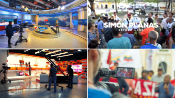 VTV studios, Venezuela's national television station (top and bottom left), Alba TV production (top and bottom right). (MinCI and ALBA TV)
