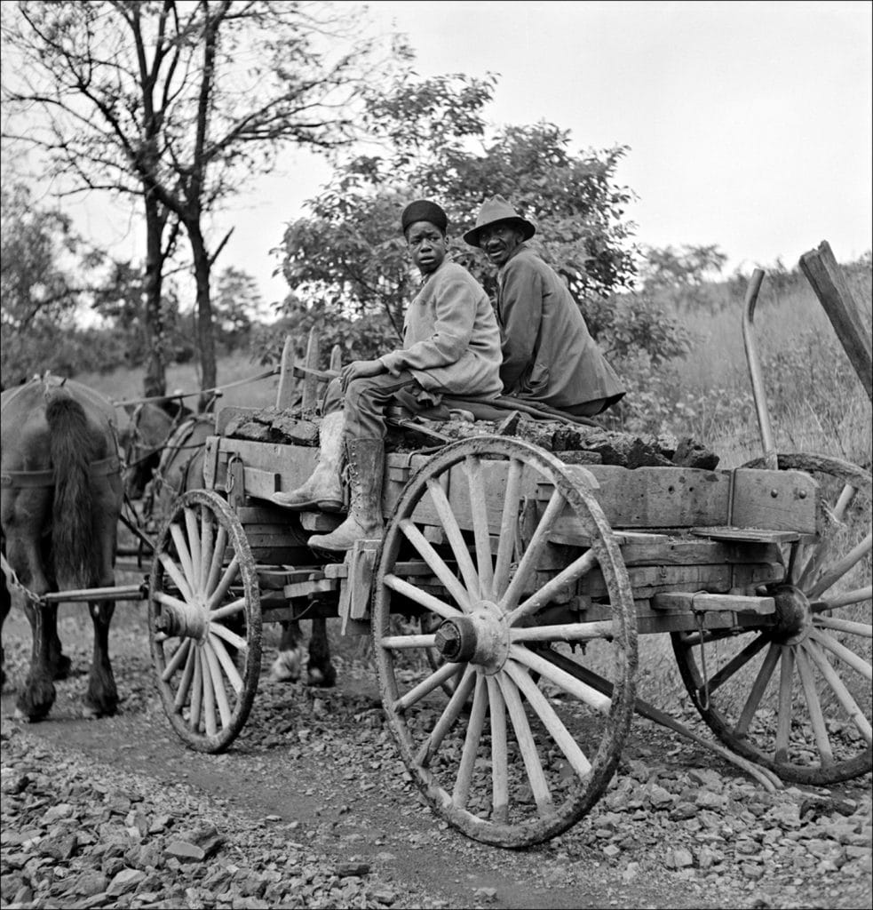 """""""Hauling coal up the hill picked up near mines to his home. Chaplin West Virginia. 1938."""" Photo by Marion Post Wolcott/Farm Security Administration-Office of War Information Photograph Collection Library of Congress."""