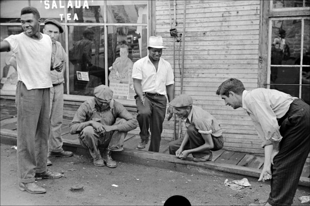 """""""Untitled. (Shooting craps by company store Osage West Virginia. 1938.)"""" Photo by Marion Post Wolcott/Farm Security Administration-Office of War Information Photograph Collection Library of Congress."""