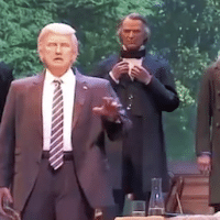 An audioanimatronic Donald Trump with previous presidents at Disney's Hall of Presidents.