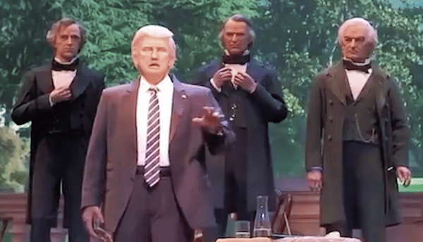 | An audioanimatronic Donald Trump with previous presidents at Disneys Hall of Presidents | MR Online