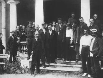   MN Roy centre black tie and jacket with Vladimir Lenin tenth from the left Maxim Gorky behind Lenin and other delegates to the Second Congress of the Communist International at the Uritsky Palace in Petrograd 1920 Magazine Krasnay Panorama Red Panorama Wikipedia   MR Online