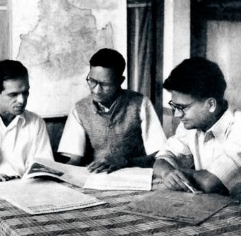 BT Ranadive, G Adhikari, and PC Joshi at a meeting of the Polit Bureau of the Communist Party of India at the CPI headquarters in Bombay, 1945. Sunil Janah / The Hindu Archives.