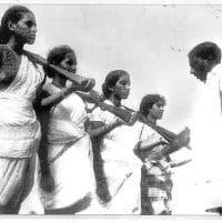Sunil Janah, Mallu Swarajayam and other members of an armed squad during the Telangana armed struggle, 1946-1951.