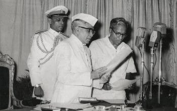 EMS Namboodiripad (right) taking oath as the first Chief Minister of Kerala. Thiruvananthapuram, 5 April 1957. Rajan Poduval / The Hindu Archives.