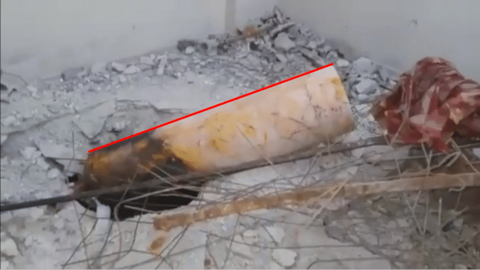 Red line for angle of container at Balcony site