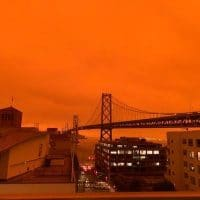 San Francisco skyline tainted orange from wildfire smoke, Sept. 9