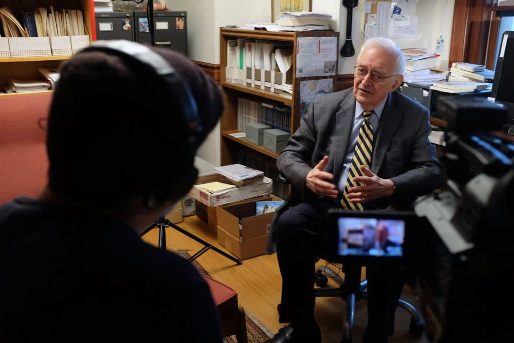 Immanuel Wallerstein during an interview in his office at Yale University, April 20, 2015