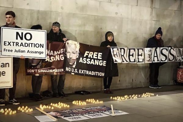 Une veille à Trafalgar Square à Londres contre l'extradition de Julian Assange aux Etats-Unis, où il risque 175 ans de prison. (Garry Knigh)